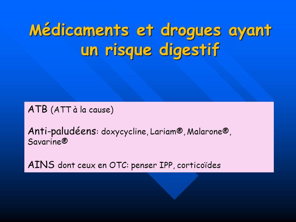 M édicaments et drogues ayant un risque digestif ATB (ATT à la cause) Anti-paludéens : doxycycline, Lariam®, Malarone®, Savarine® AINS dont ceux en OT
