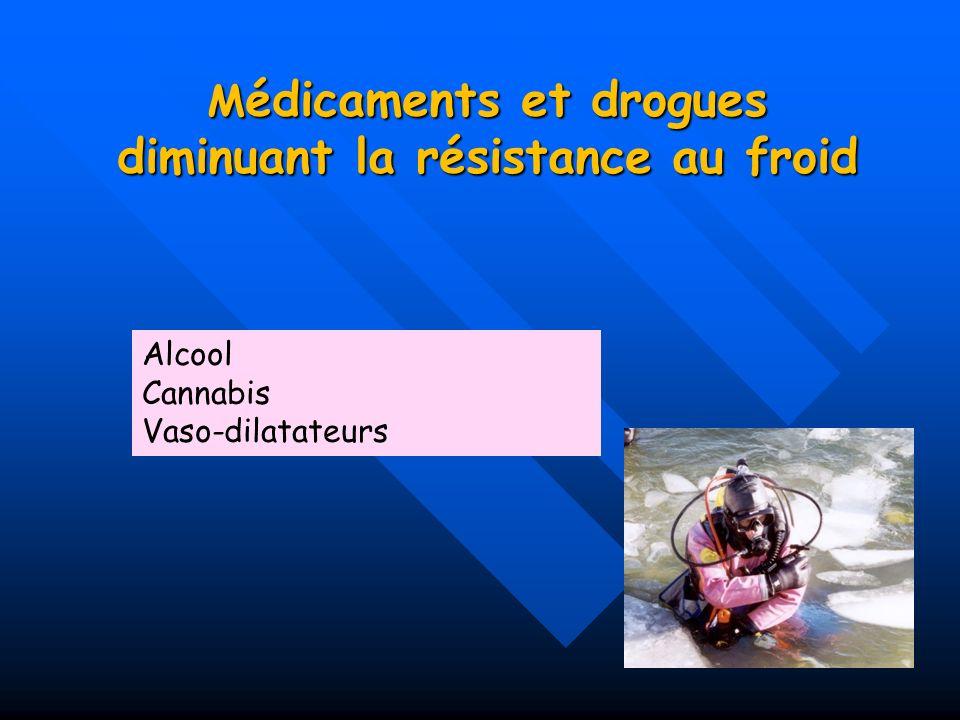 M édicaments et drogues diminuant la résistance au froid Alcool Cannabis Vaso-dilatateurs