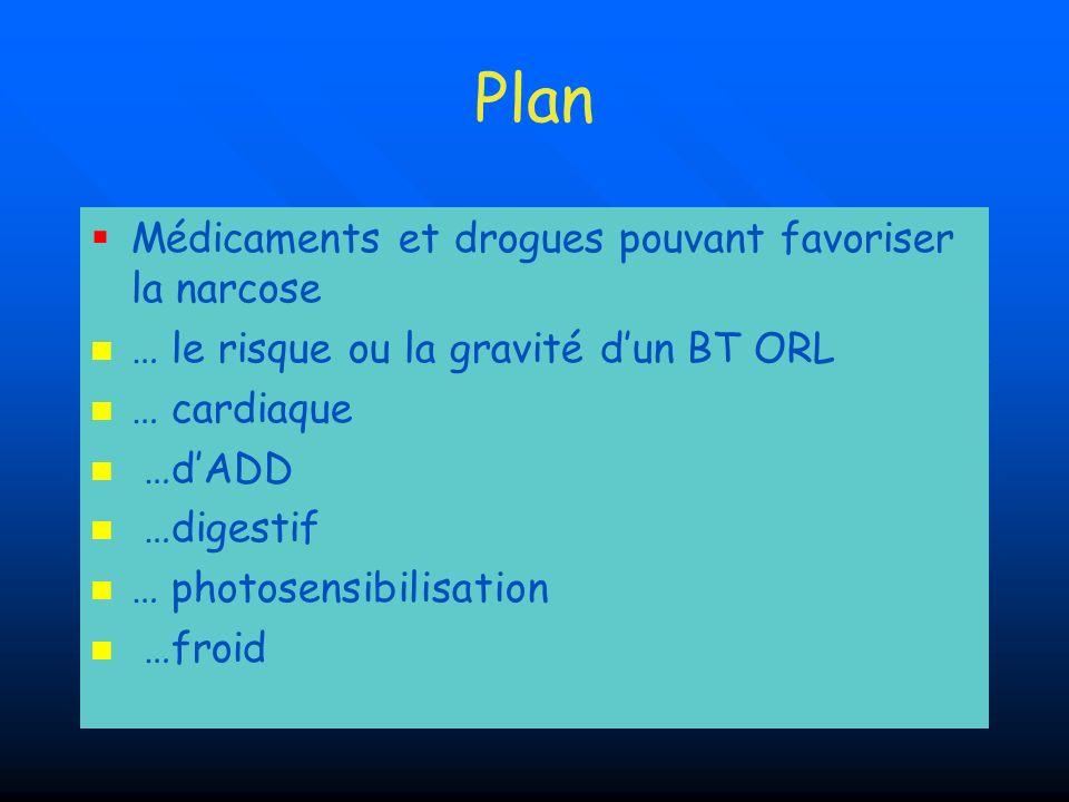 Plan Médicaments et drogues pouvant favoriser la narcose … le risque ou la gravité dun BT ORL … cardiaque …dADD …digestif … photosensibilisation …froi