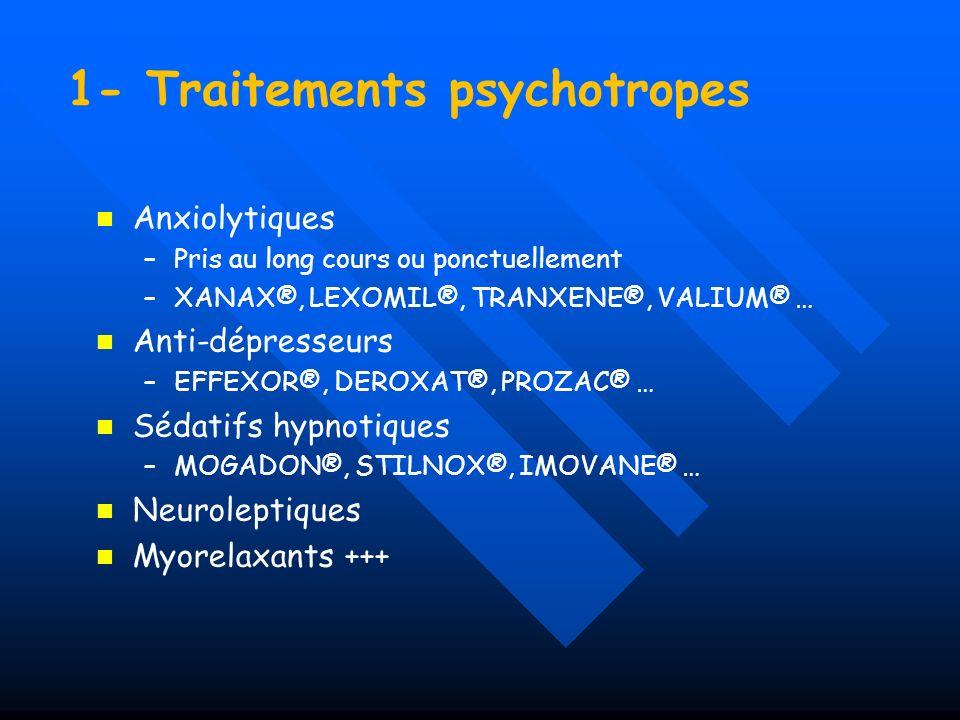 1- Traitements psychotropes Anxiolytiques – –Pris au long cours ou ponctuellement – –XANAX®, LEXOMIL®, TRANXENE®, VALIUM® … Anti-dépresseurs – –EFFEXO