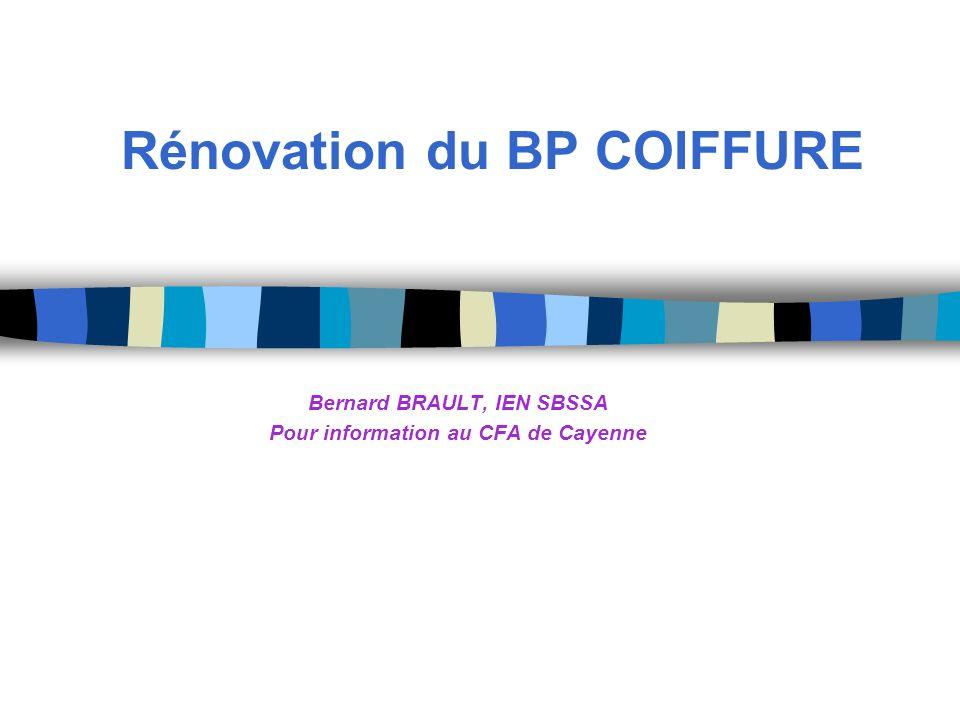 Rénovation du BP COIFFURE Bernard BRAULT, IEN SBSSA Pour information au CFA de Cayenne