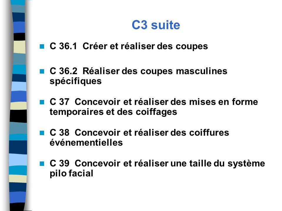 C3 suite C 36.1 Créer et réaliser des coupes C 36.2 Réaliser des coupes masculines spécifiques C 37 Concevoir et réaliser des mises en forme temporair