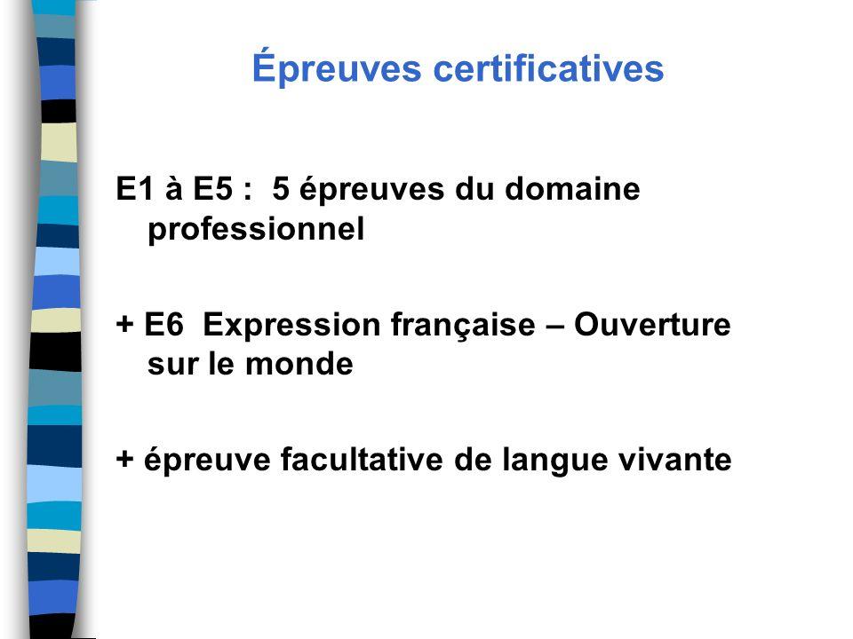 Épreuves certificatives E1 à E5 : 5 épreuves du domaine professionnel + E6 Expression française – Ouverture sur le monde + épreuve facultative de lang
