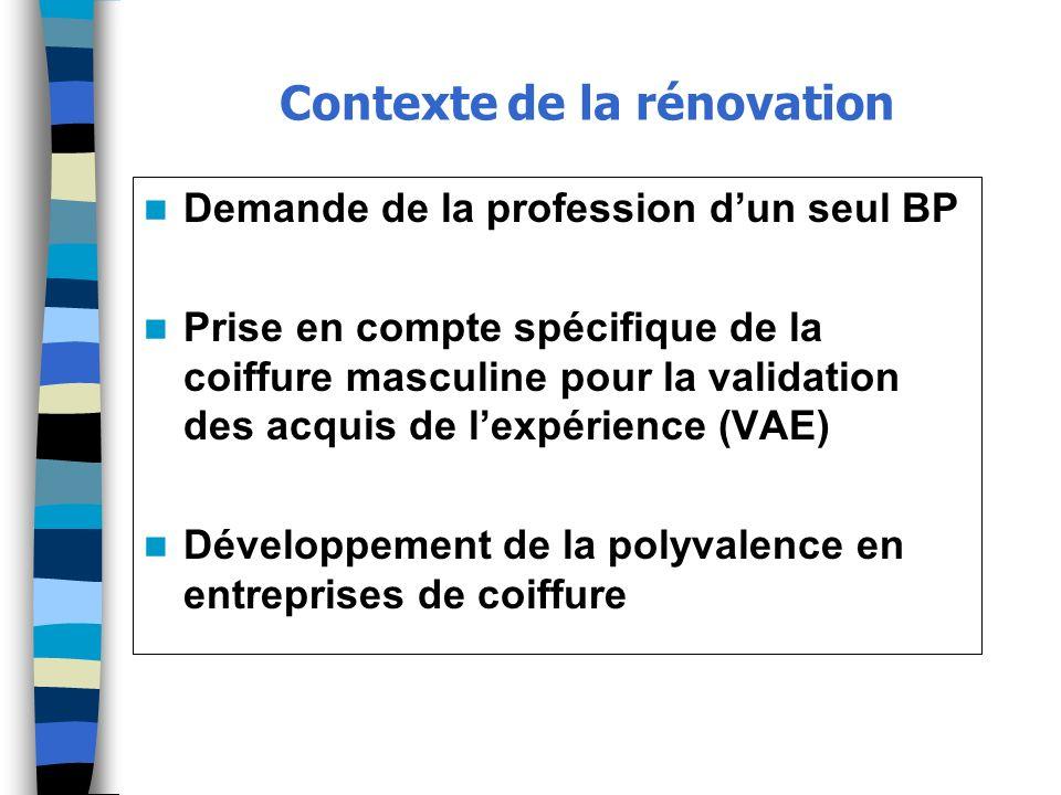 Contexte de la rénovation Demande de la profession dun seul BP Prise en compte spécifique de la coiffure masculine pour la validation des acquis de le