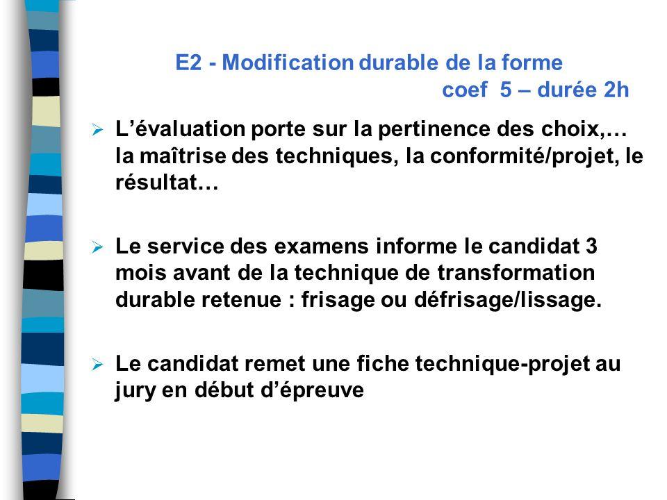 E2 - Modification durable de la forme coef 5 – durée 2h Lévaluation porte sur la pertinence des choix,… la maîtrise des techniques, la conformité/proj