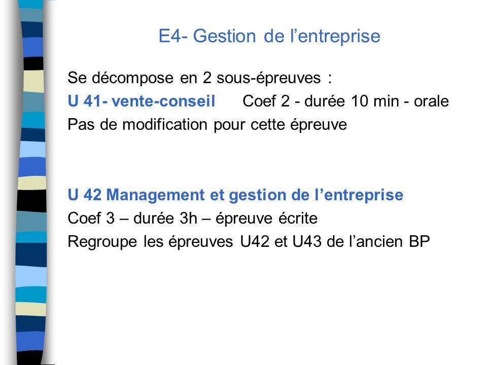 E4- Gestion de lentreprise Se décompose en 2 sous-épreuves : U 41- vente-conseil Coef 2 - durée 10 min - orale Pas de modification pour cette épreuve