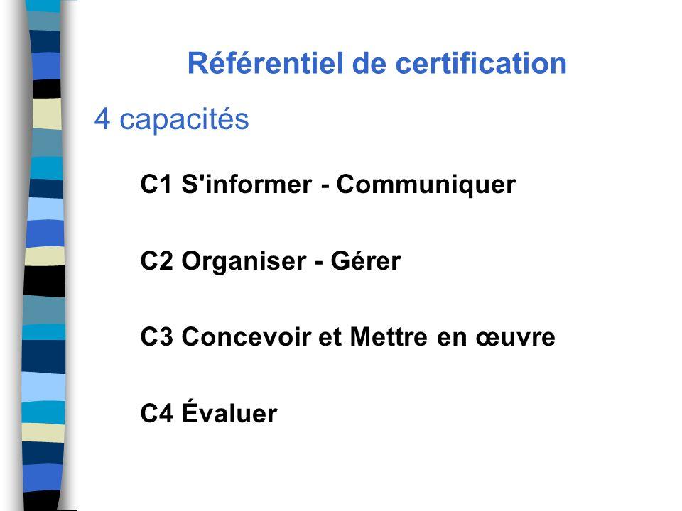Référentiel de certification 4 capacités C1 S'informer - Communiquer C2 Organiser - Gérer C3 Concevoir et Mettre en œuvre C4 Évaluer