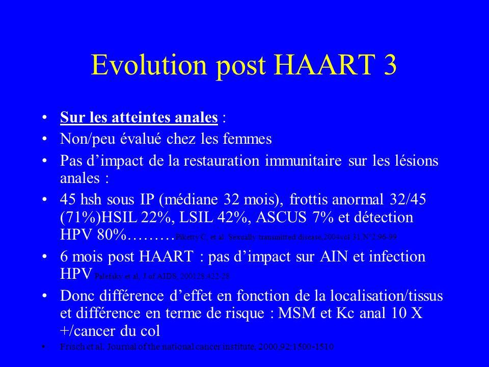 Evolution post HAART 2 Sur les atteintes cervicales : Etudes contradictoires mais design différents Probable effet, mais modeste, avec cas de régressi