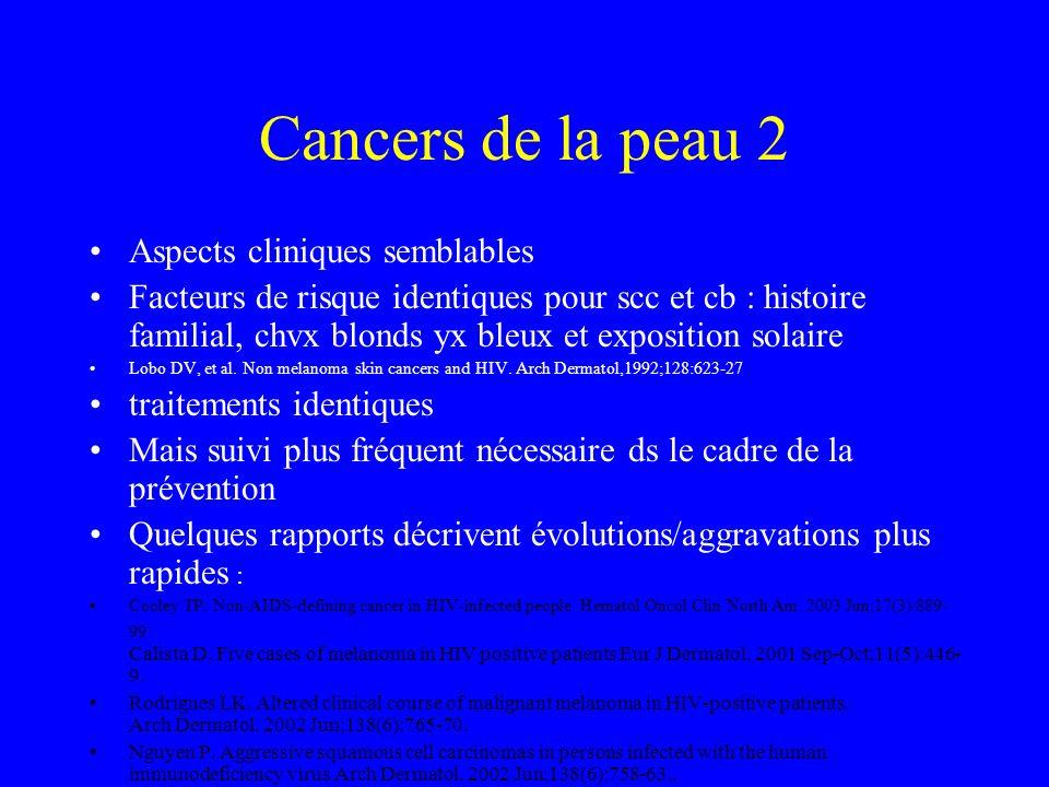 Cancers de la peau 1 Etude rétrospective >4000 patients, suivi 27.000 personnes-année 133 cancers ne définissant pas le SIDA 980/100.000 personnes-ann