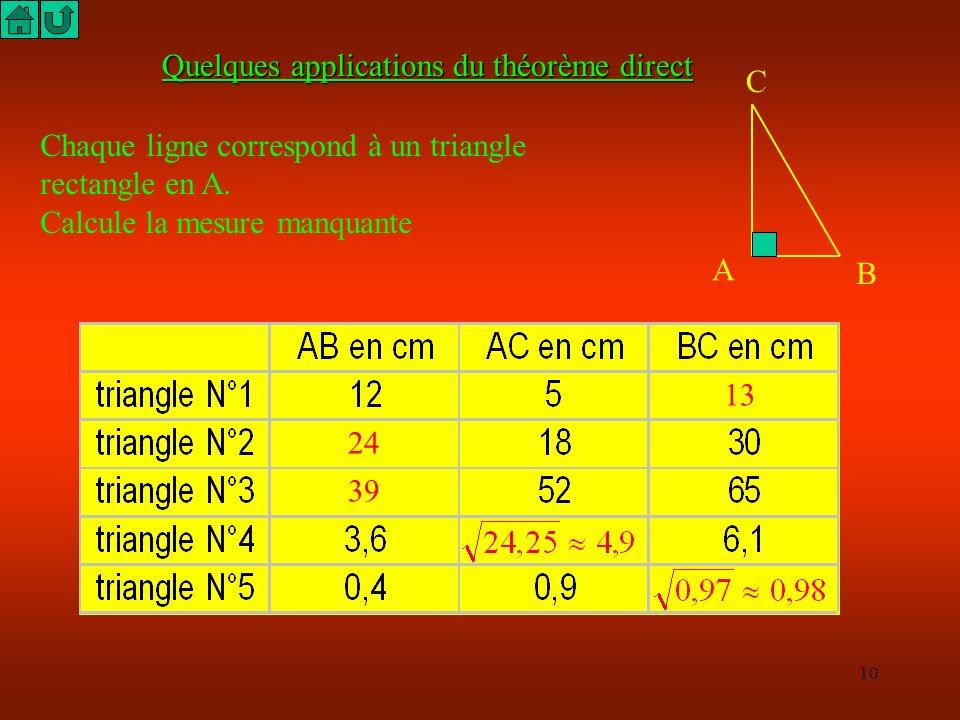 9 A B C 7 cm 13 cm 15 cm Exemple de rédaction Le côté le plus long du triangle ABC est BC = 15 cm. Je compare BC² = 15² BC² = 225 AC² + AB² = 7² + 13²