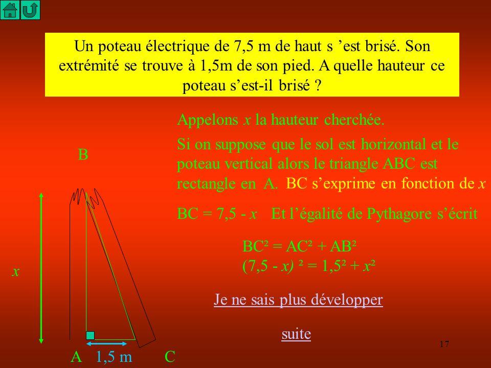 16 M HN P 10cm 8cm 12cm Le triangle MNP est-il rectangle ? Dans le triangle PNH rectangle en H, l égalité de Pythagore s écrit : PN² = NH² + HP² 12² =
