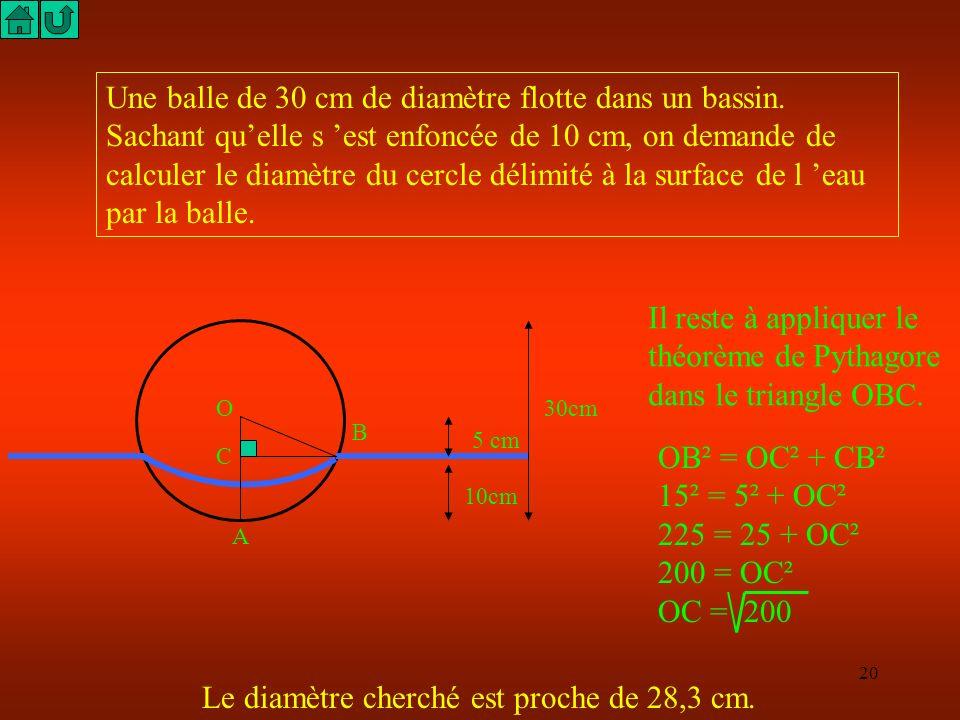 19 Une balle de 30 cm de diamètre flotte dans un bassin. Sachant quelle s est enfoncée de 10 cm, on demande de calculer le diamètre du cercle délimité