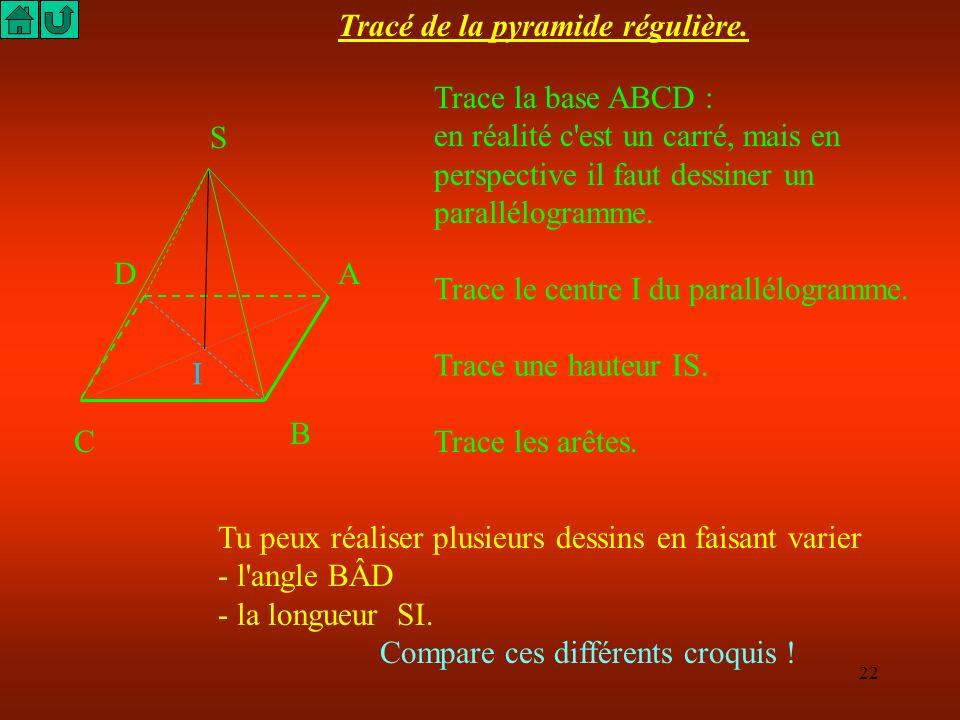 21 S A B C D SABCD est une Pyramide régulière de base carrée. SA = AB = BC = CD = AD = 50 cm On demande de calculer la hauteur puis le volume en litre