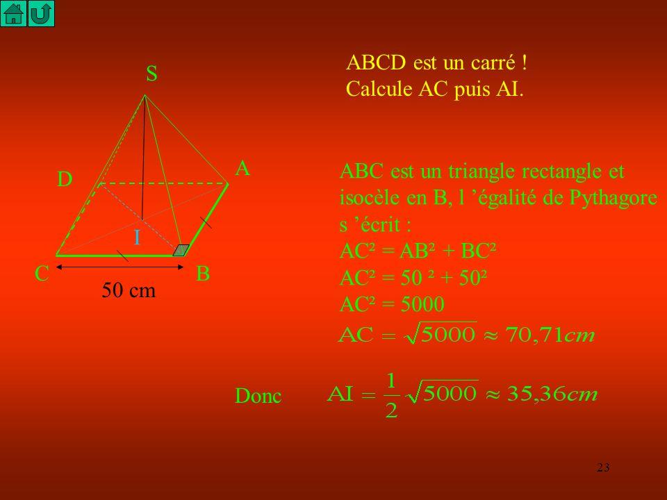 22 S A B C D I Trace la base ABCD : en réalité c'est un carré, mais en perspective il faut dessiner un parallélogramme. Trace le centre I du parallélo