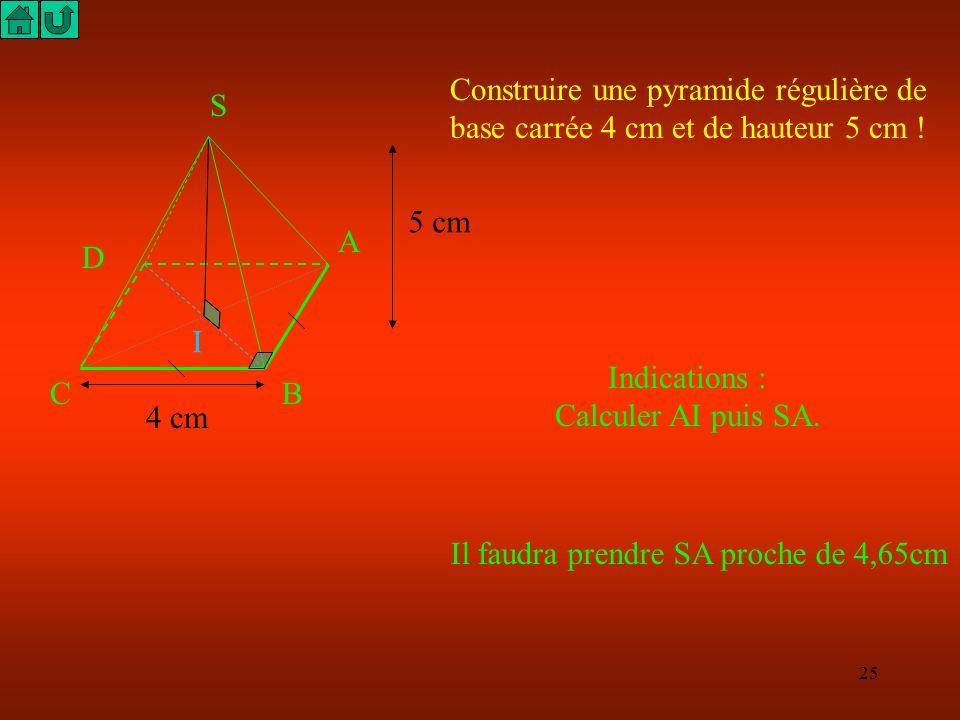 24 S A BC D I 50 cm ABCD est un carré contenu dans un plan horizontal et SI est une droite verticale, donc : SIB est un triangle rectangle en I, et l