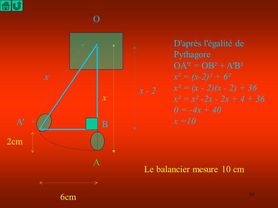29 x A 6cm 2cm B A' O A partir de la position médiane OA Le balancier se déplace vers une position extrême OA' l'énoncé donne les indications suivante