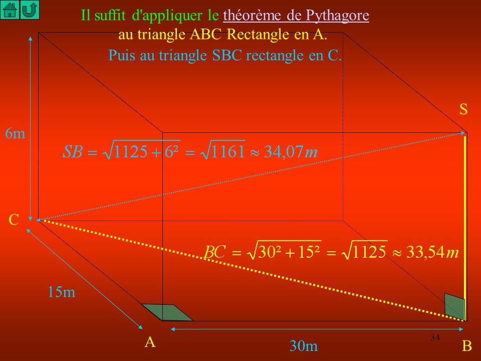33 15m 30m 6m Calcule la distance qui sépare les chats de la souris et de l'oiseau C A B S