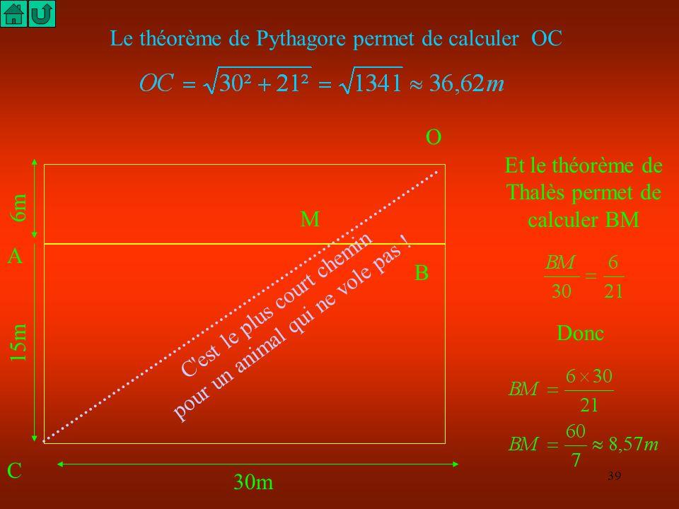 38 C S B N 30m 6m 15m Le théorème de Pythagore permet de calculer SCthéorème de Pythagore Et le théorème de Thalès permet de calculer AN Donc BN = 12,