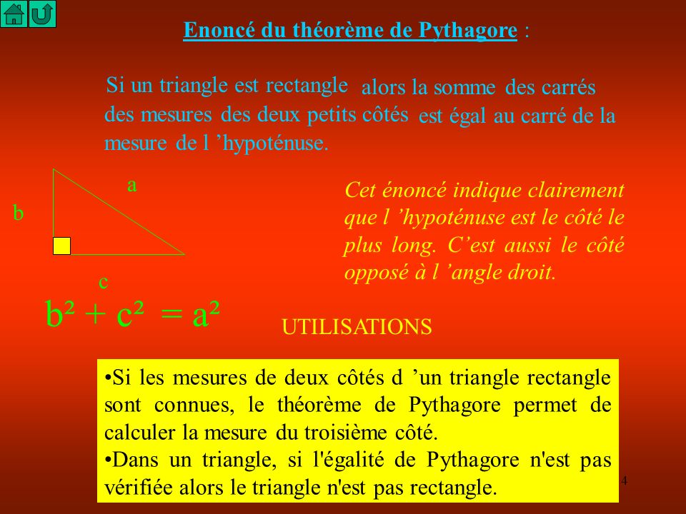 3 Sommaire Enoncé du Théorème de PYTHAGORE. Calcul de l hypoténuse d un triangle rectangle. Calcul d un petit côté d un triangle rectangle. De nouveau