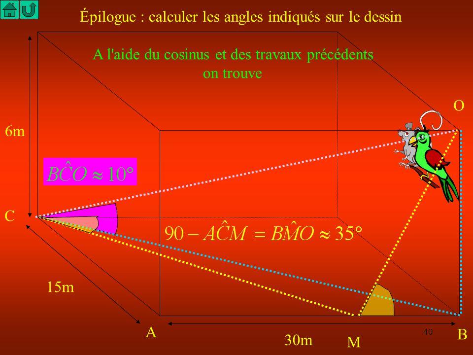 39 C A B M Le théorème de Pythagore permet de calculer OC Et le théorème de Thalès permet de calculer BM Donc O 30m 6m 15m C'est le plus court chemin
