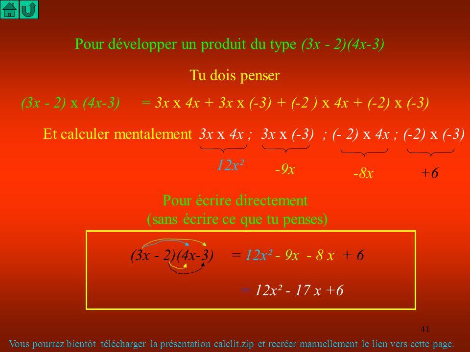 40 Épilogue : calculer les angles indiqués sur le dessin 15m 30m 6m M C B O A A l'aide du cosinus et des travaux précédents on trouve