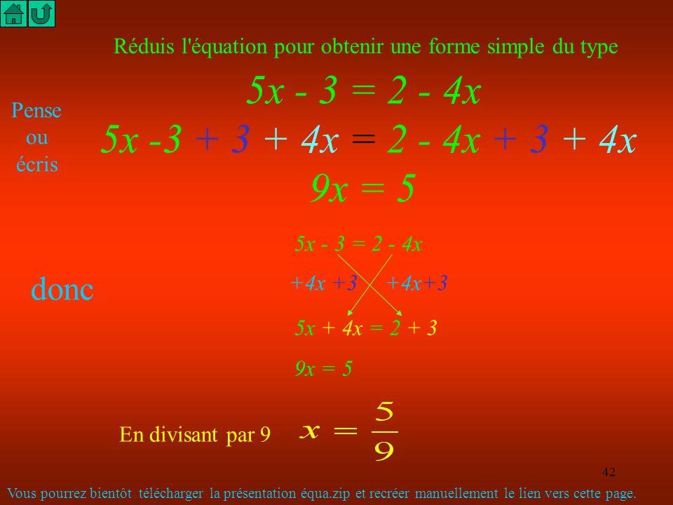 41 (3x - 2) x (4x-3) Tu dois penser = 3x x 4x + 3x x (-3) + (-2 ) x 4x + (-2) x (-3) Pour écrire directement (sans écrire ce que tu penses) (3x - 2)(4