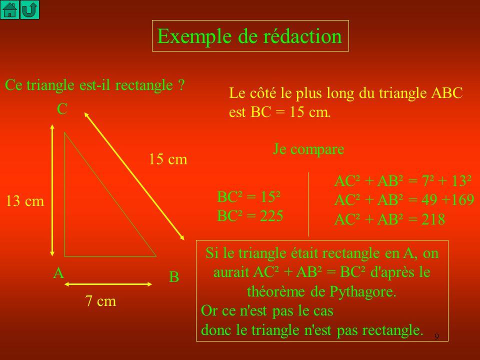 8 Nous avons besoin de nouveaux nombres ! N M P PM² = PN² + NM² N M P 2 cm 3 cm 2 cm Dans les deux cas suivants, la relation de Pythagore s écrit PM²
