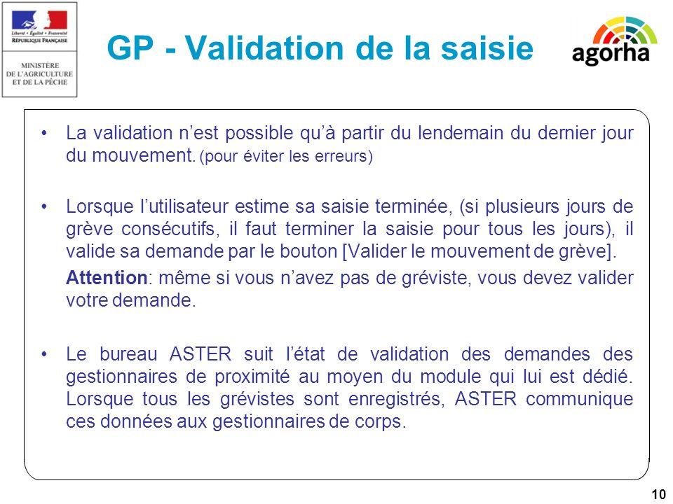 10 GP - Validation de la saisie La validation nest possible quà partir du lendemain du dernier jour du mouvement. (pour éviter les erreurs) Lorsque lu