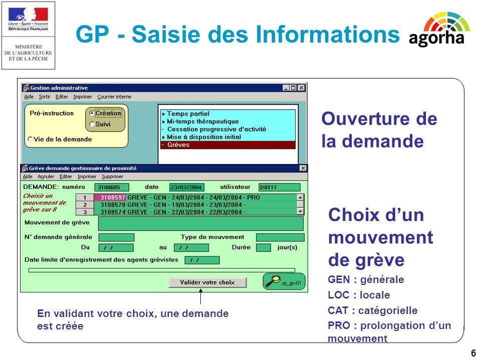 7 GP - Saisie des Informations Lutilisation du bouton [Liste des agents pour le « date »] ouvre lécran de saisie des agents déclarés grévistes pour ce jour.