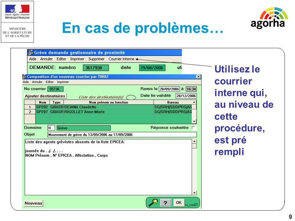 9 En cas de problèmes… Utilisez le courrier interne qui, au niveau de cette procédure, est pré rempli