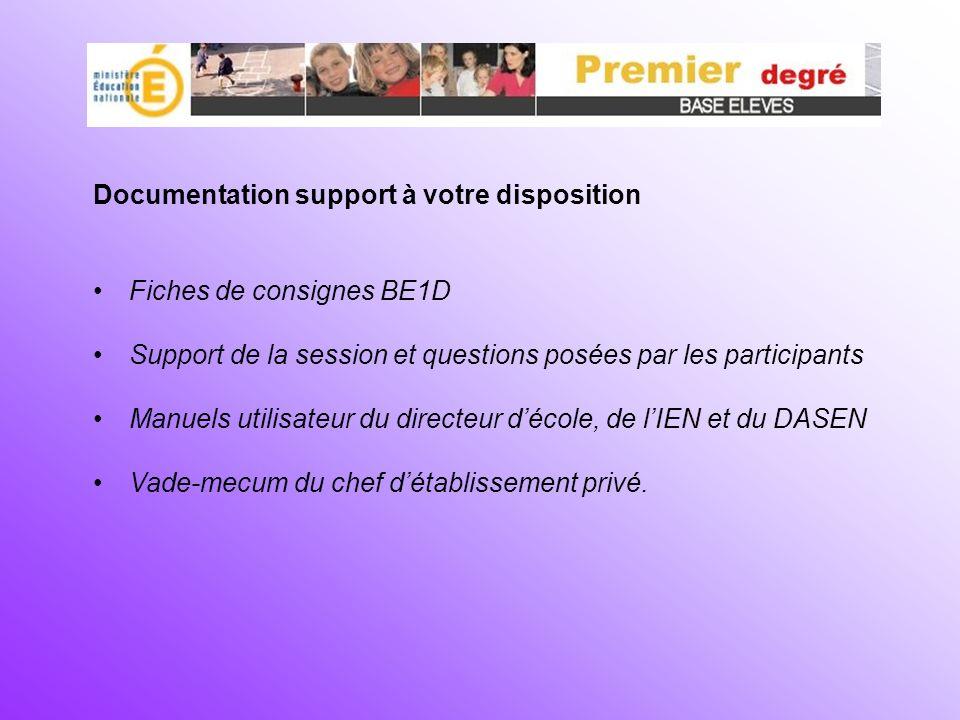 Documentation support à votre disposition Fiches de consignes BE1D Support de la session et questions posées par les participants Manuels utilisateur