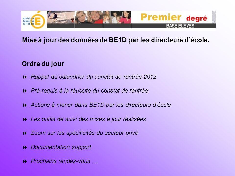 Ordre du jour Rappel du calendrier du constat de rentrée 2012 Pré-requis à la réussite du constat de rentrée Actions à mener dans BE1D par les directe