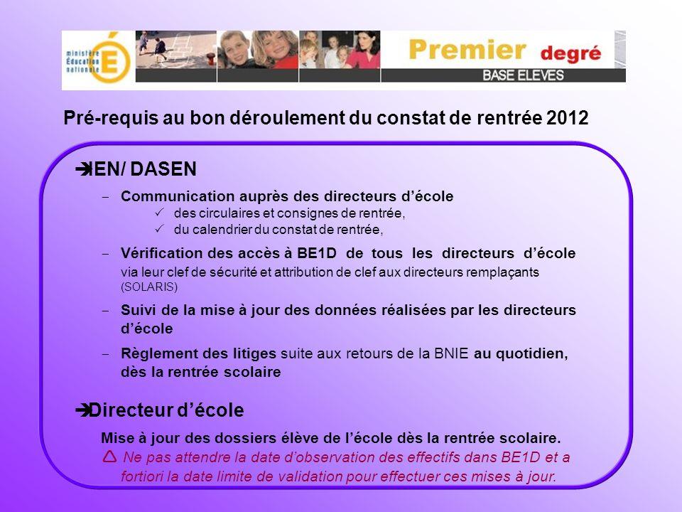Pré-requis au bon déroulement du constat de rentrée 2012 IEN/ DASEN - Communication auprès des directeurs décole des circulaires et consignes de rentr