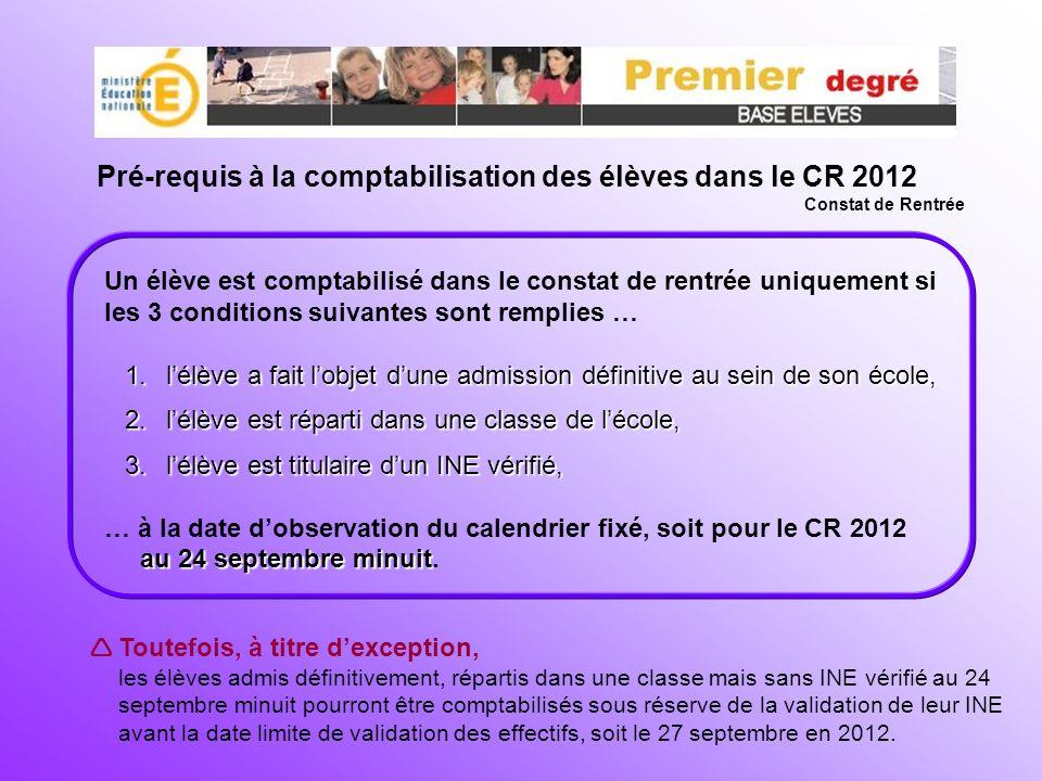 Pré-requis à la comptabilisation des élèves dans le CR 2012 Constat de Rentrée Un élève est comptabilisé dans le constat de rentrée uniquement si les