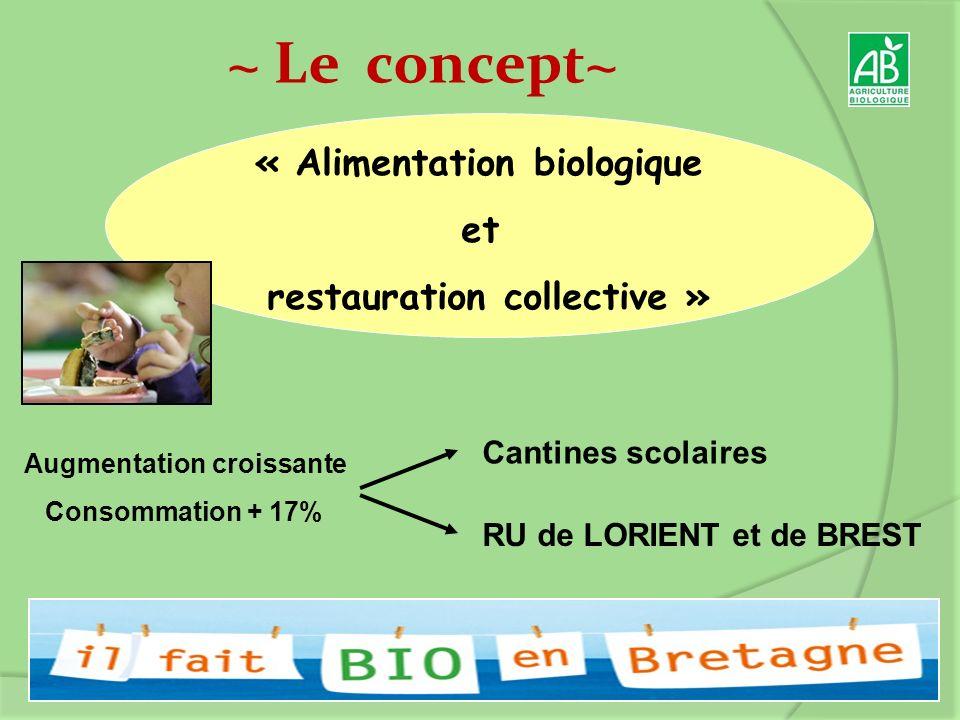 ~ Le concept~ « Alimentation biologique et restauration collective » Augmentation croissante Consommation + 17% Cantines scolaires RU de LORIENT et de