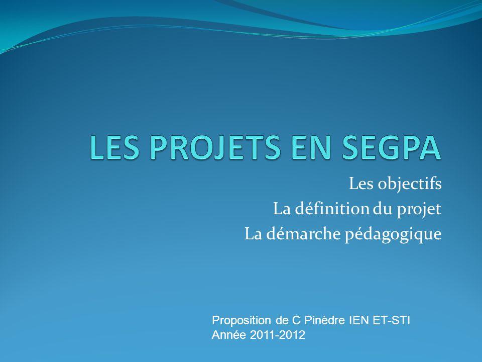 Les objectifs La définition du projet La démarche pédagogique Proposition de C Pinèdre IEN ET-STI Année 2011-2012