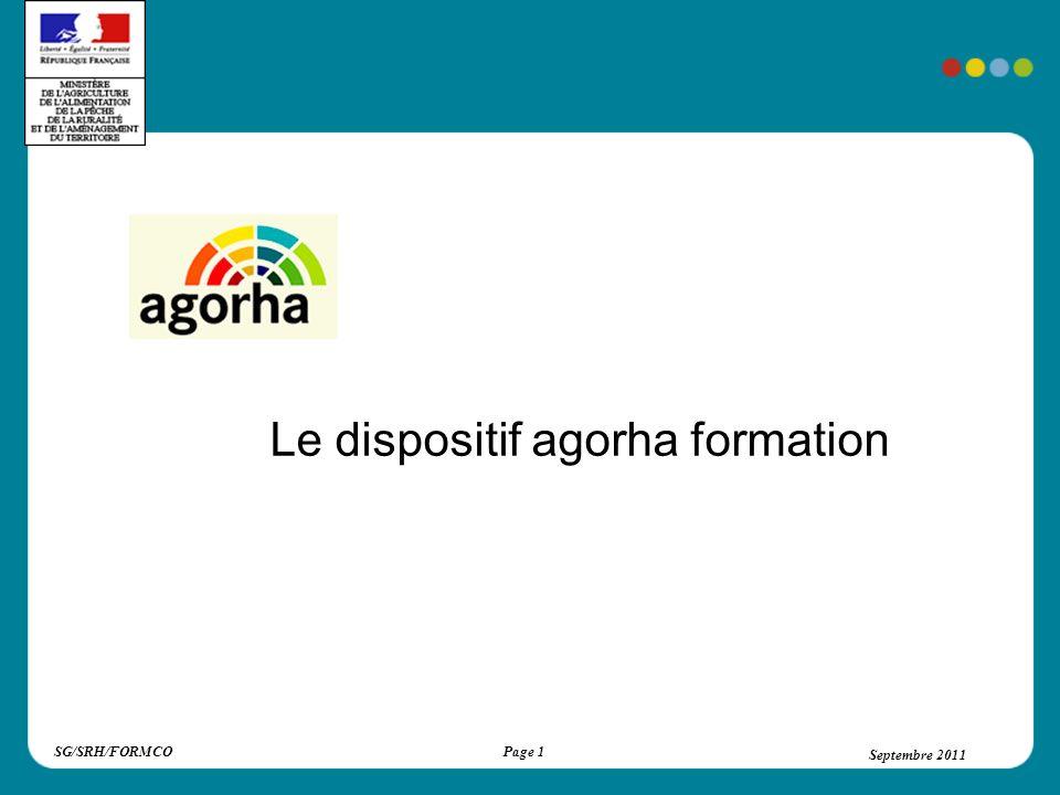 SG/SRH/FORMCOSeptembre 2011Page 2 Septembre 2011 Dispositif agorha formation Un parcours dauto-formation Une base de connaissances Des actions complémentaires collectives Des réunions «réglementation»
