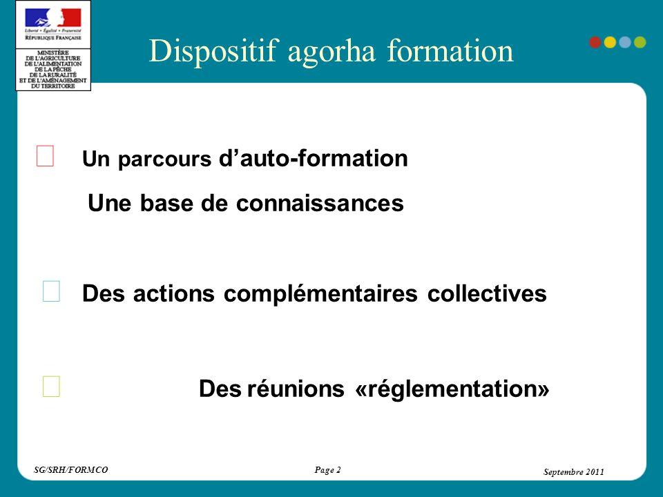 SG/SRH/FORMCOSeptembre 2011Page 3 Septembre 2011 Le parcours d auto-formation d Agorha, découpé en modules : - comprend tout ce que vous devez savoir pour lutilisation dagorha.