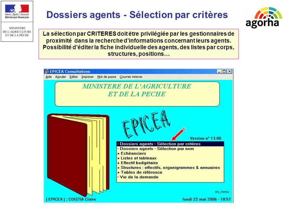 Dossiers agents - Sélection par critères La sélection par CRITERES doit être privilégiée par les gestionnaires de proximité dans la recherche dinformations concernant leurs agents.
