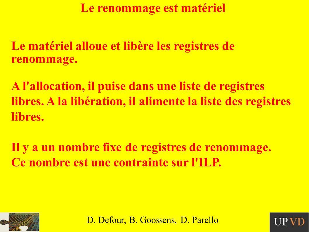 Le renommage est matériel Le matériel alloue et libère les registres de renommage.