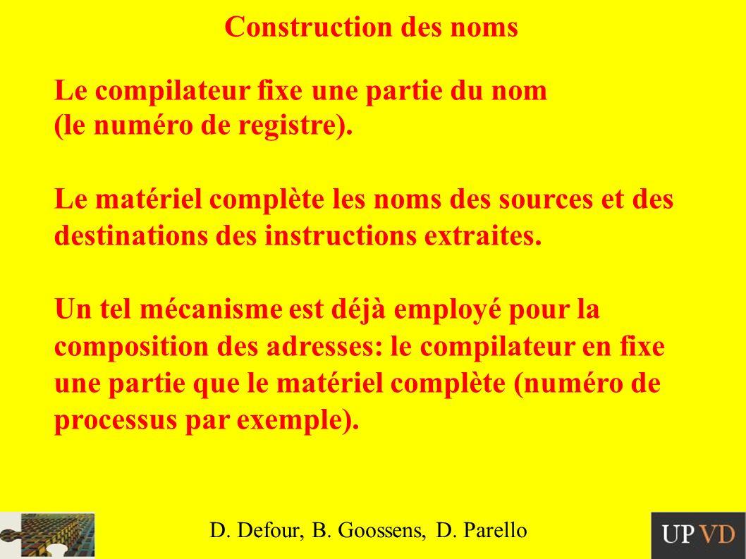 Construction des noms Le compilateur fixe une partie du nom (le numéro de registre).