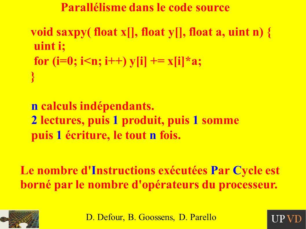 Code machine d architecture RISC saxpy: // x dans R1, y dans R2, a dans F1, n dans R3 CLRR8// i=0 CMPR9, R8, R3// i==n BEQR9, fin// if (i==n) return e: FLDF2, R1(R8)// F2=x[i] FMULF3, F2, F1// F3=a*x[i] FLDF4, R2(R8)// F4=y[i] FADDF5, F4, F3// F5=y[i]+a*x[i] FSTF5, R2(R8)// y[i]+=a*x[i] ADDR8, R8, 1// i++ CMPR9, R8, R3// i!=n BNER9, e// if (i!=n) goto e fin: RET D.