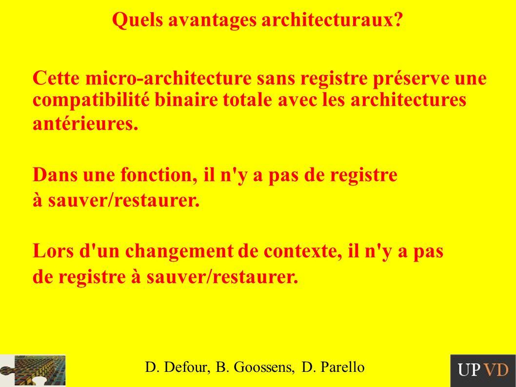 Quels avantages architecturaux.