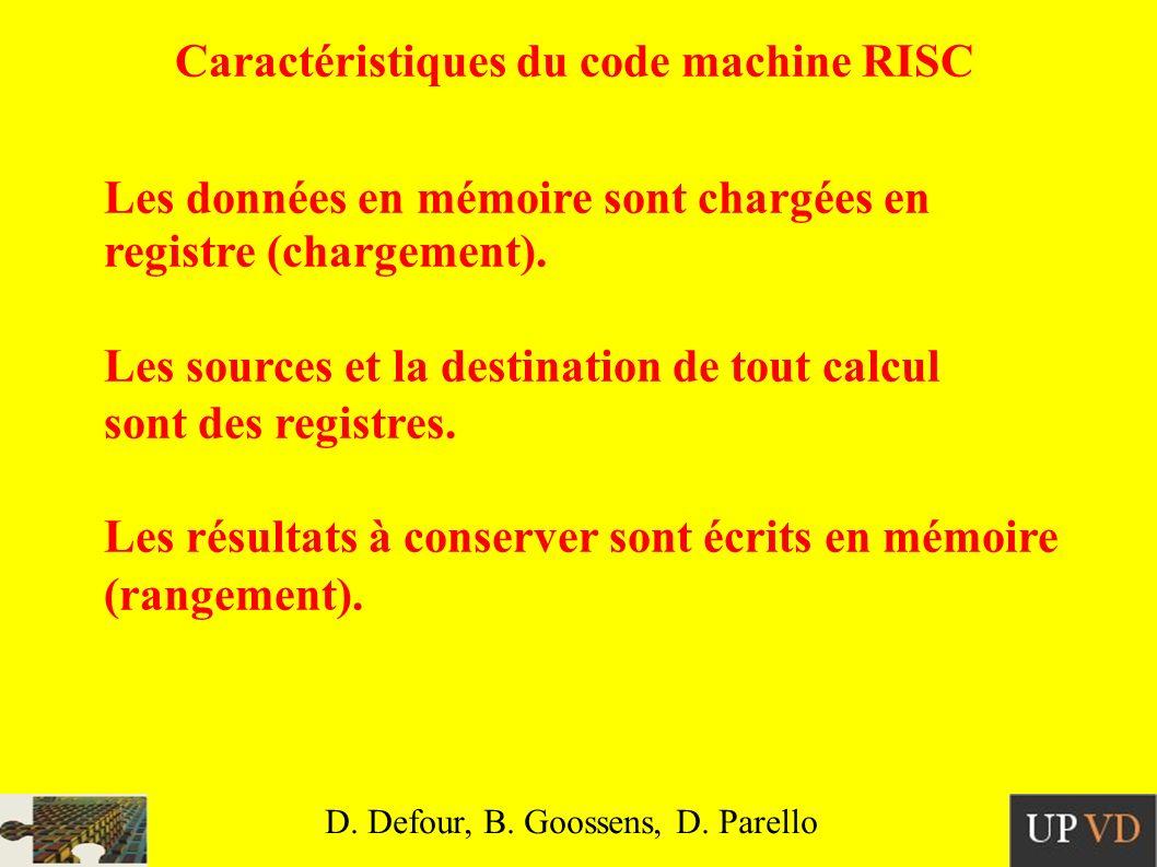 Caractéristiques du code machine RISC Les données en mémoire sont chargées en registre (chargement).