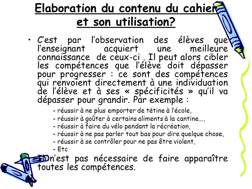 Elaboration du contenu du cahier et son utilisation.