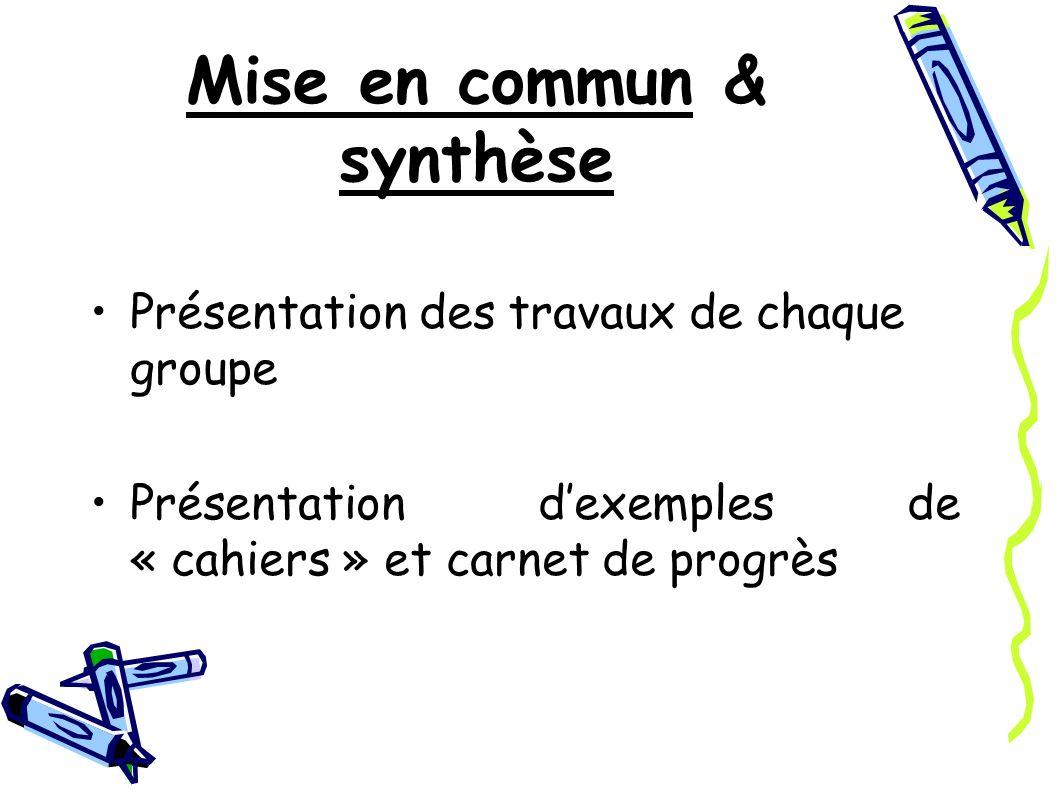 Mise en commun & synthèse Présentation des travaux de chaque groupe Présentation dexemples de « cahiers » et carnet de progrès