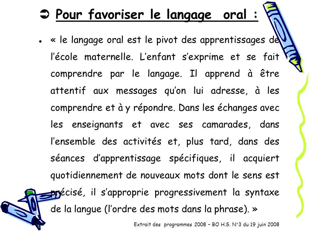 Pour favoriser le langage oral : « le langage oral est le pivot des apprentissages de lécole maternelle. Lenfant sexprime et se fait comprendre par le