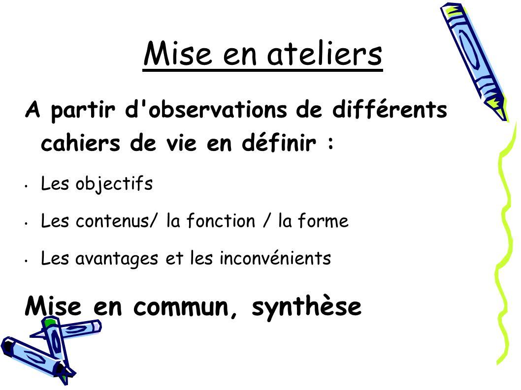 A partir d observations de différents cahiers de vie en définir : Les objectifs Les contenus/ la fonction / la forme Les avantages et les inconvénients Mise en commun, synthèse Mise en ateliers