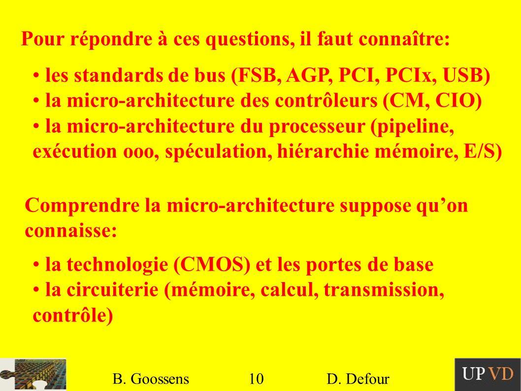 10 B. Goossens D. Defour10 B. Goossens D. Defour Pour répondre à ces questions, il faut connaître: les standards de bus (FSB, AGP, PCI, PCIx, USB) la