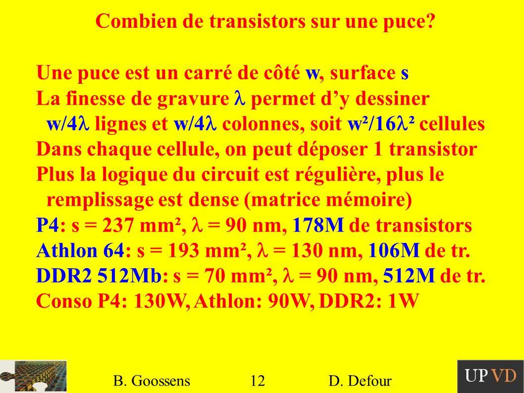 12 B. Goossens D. Defour12 B. Goossens D. Defour Combien de transistors sur une puce? Une puce est un carré de côté w, surface s La finesse de gravure